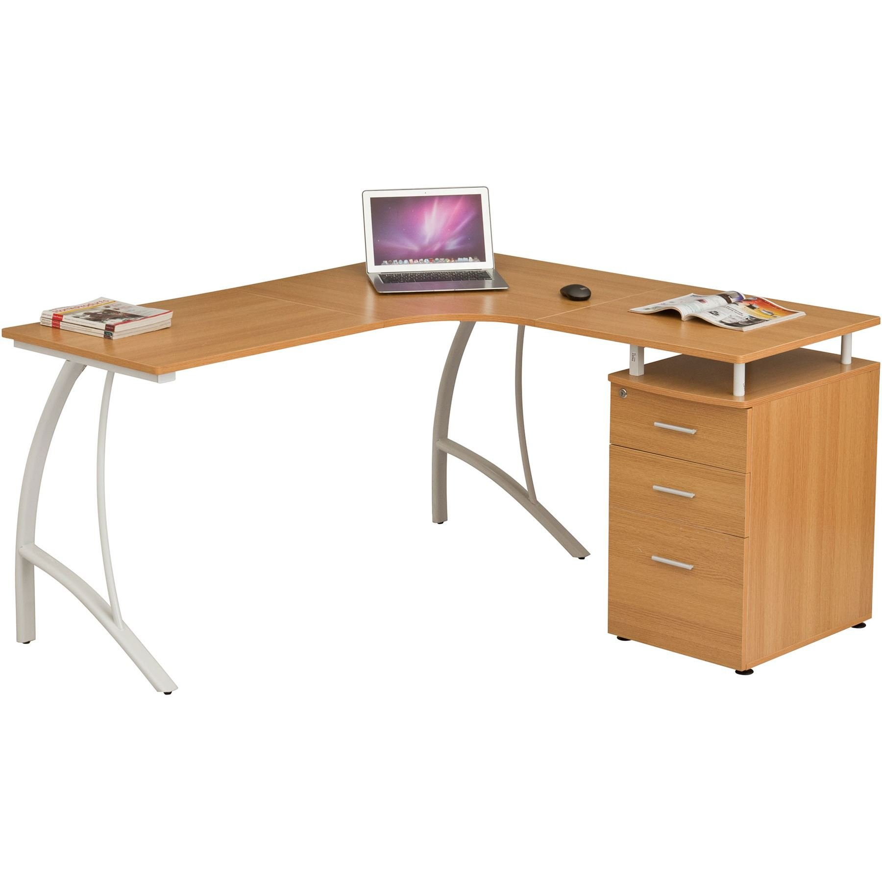 Large Corner Computer Desk with 33 Drawers and A33 Filing Matching other  Piranha Oak Effect Home Office Furniture - Regal