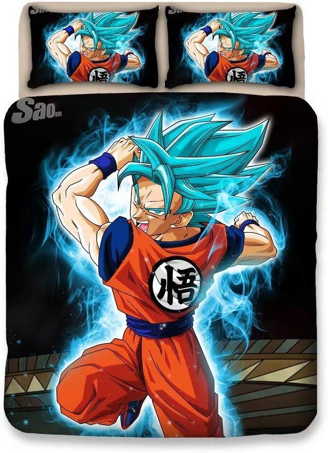 FJMM Dragon Ball Z Goku 3D Duvet Cover Set Anime 3Pcs Bedding Set Soft&Breathable,Full
