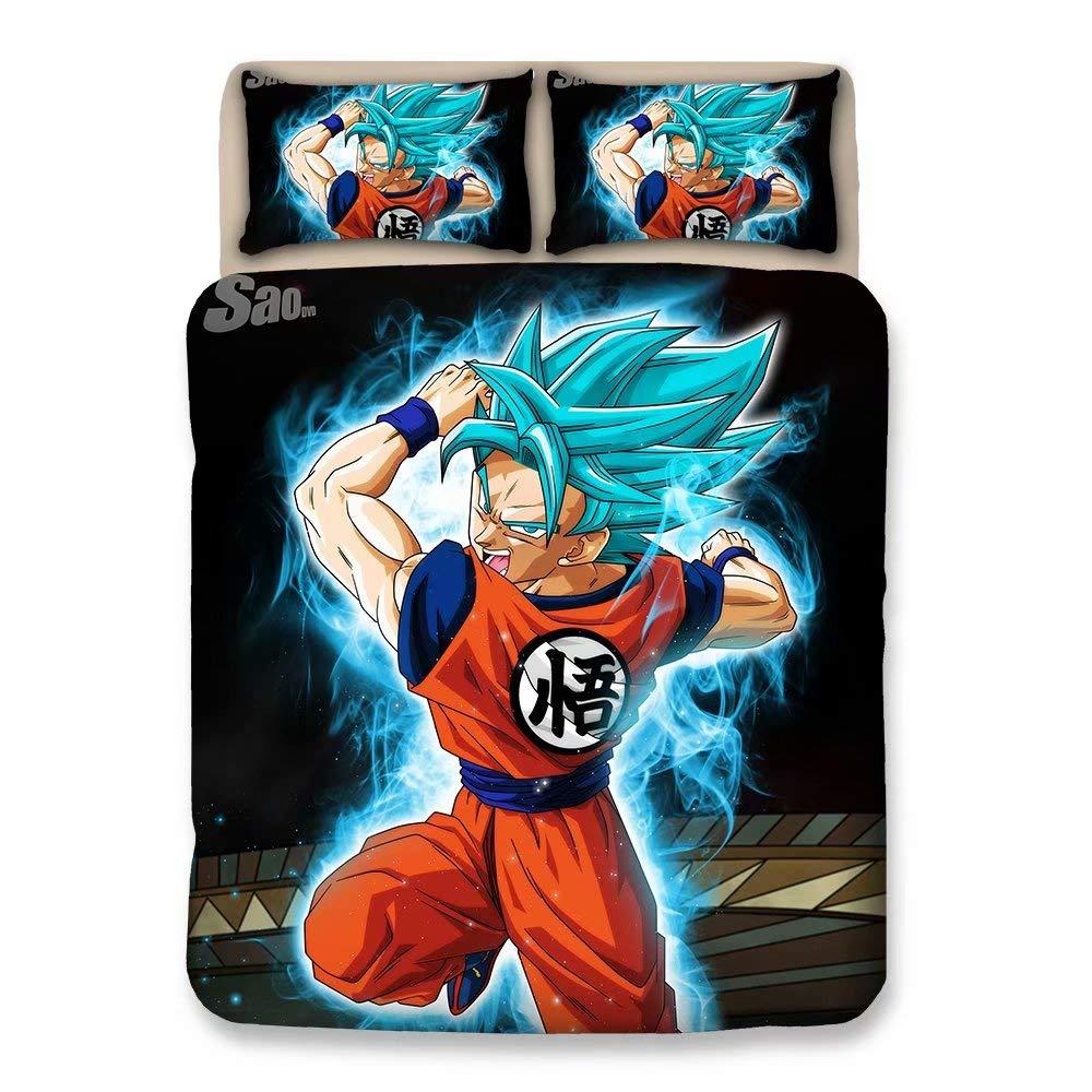 FJMM Dragon Ball Z Goku 3D Duvet Cover Set Anime 3Pcs Bedding Set Soft&Breathable,Queen