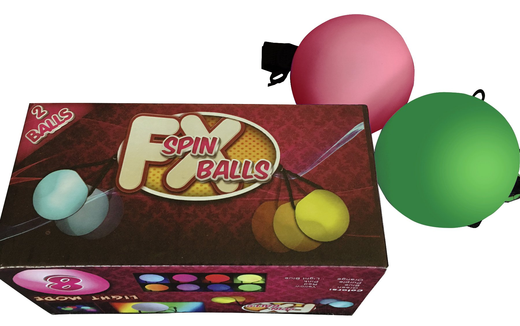 FXspin POI BALLS - 8 BRIGHT COLORS - with Automatic Color Mode - Batteries Included