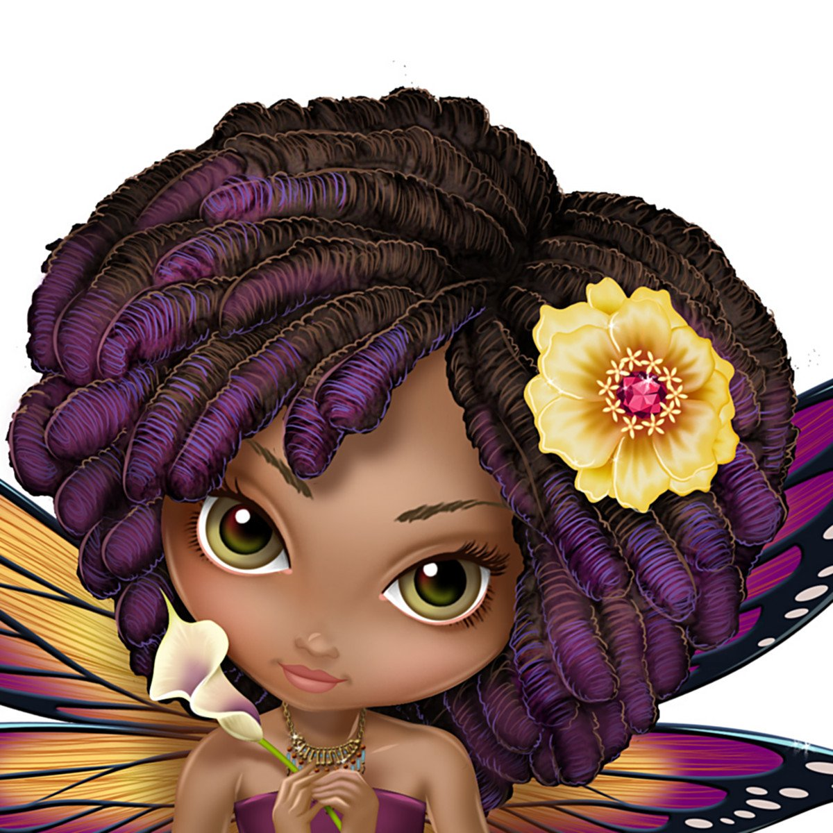 Amazon jasmine becket griffith african american fairy figurine amazon jasmine becket griffith african american fairy figurine with butterfly wings by the hamilton collection home kitchen izmirmasajfo