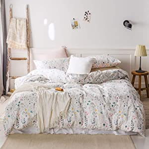 MICBRIDAL Fresh Botanical Floral Duvet Cover King Comfy White 100% Cotton Garden Style Colorful Floral Bedding Set with Zipper Chic Reversible Floral Comforter Cover with Zipper Soft&Lightweight