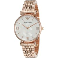 Emporio Armani Women's Dress Quartz Watch with Stainless-Steel Strap, Rose Gold, 14 (Model: AR11110)