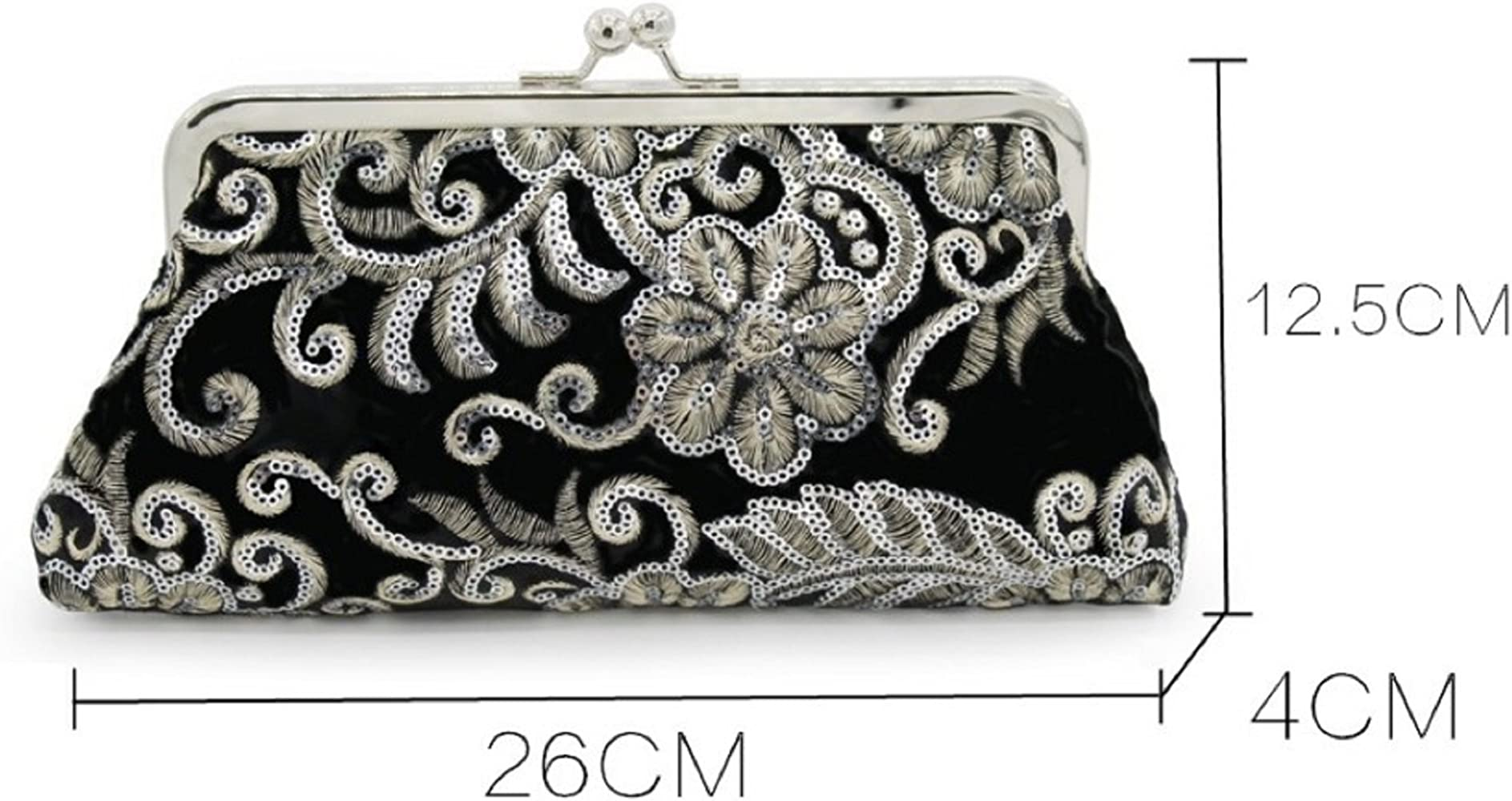 Bettyhome Womens Elegant Retro Flower Beads Embroidery Handbag Clutch Evening Bag Purse