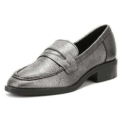 TOWER London Womens Silver Pulverized Leather Loafers