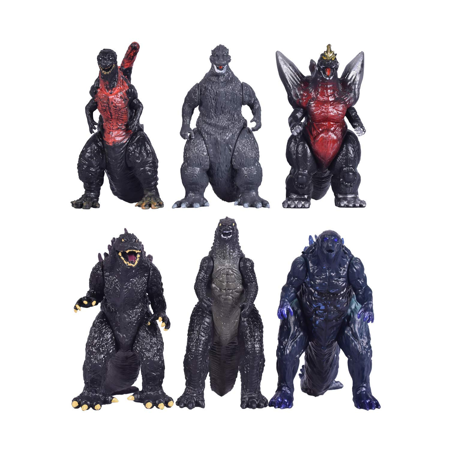 MALUNGMA 6pcs Godzilla Dinosaur with Movable Joint Playsets Mini Toys Action Figures Kids Gift