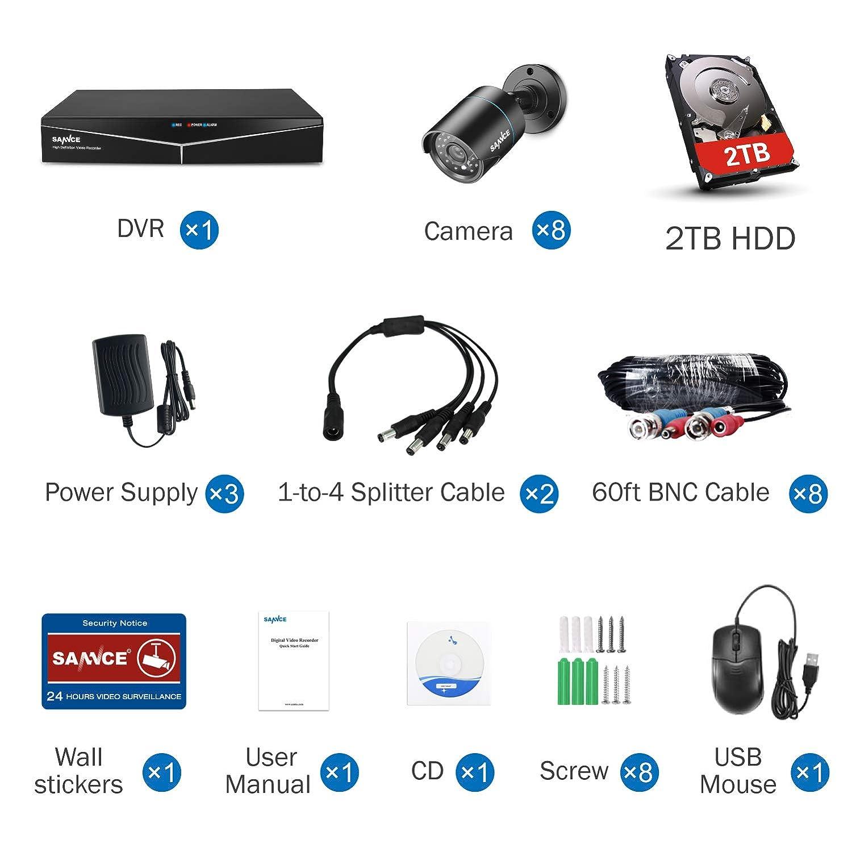SANNCE Kit de Seguridad Sistema de 8CH 1080N DVR 5-en-1 y 8 C/ámaras de vigilancia 720P HD con visi/ón Nocturna Leds IP66 Interior//Exterior Acceso remoto-1TB Disco Duro