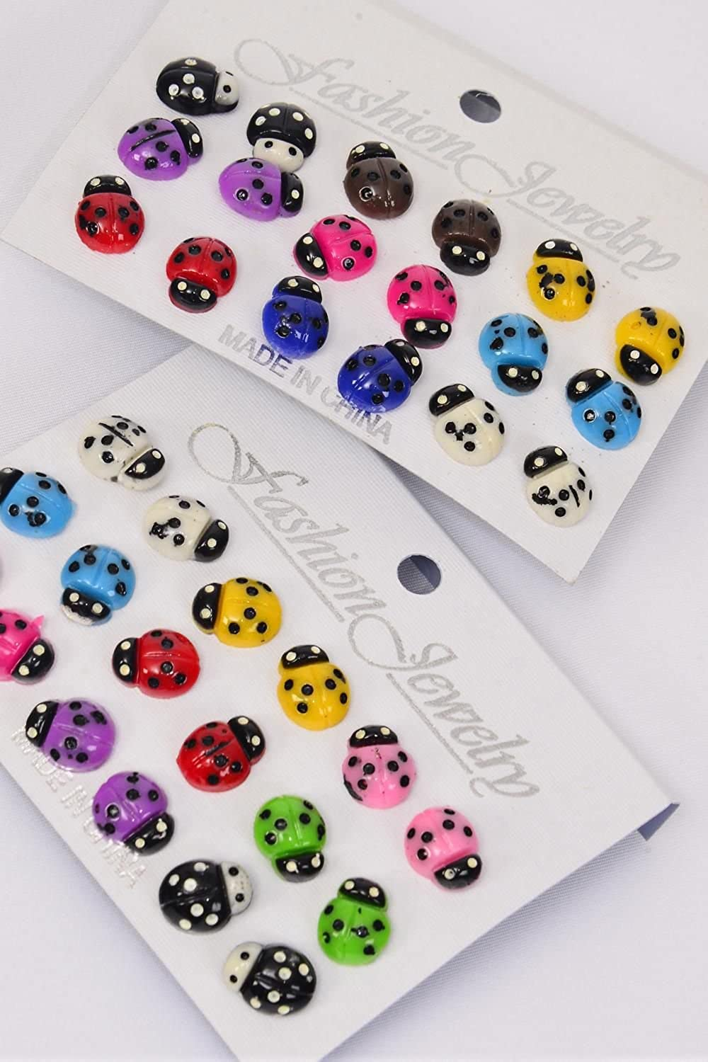 Fashion Jewelry ~ Multi Color Ladybugs Post Earrings Set 9 pairs