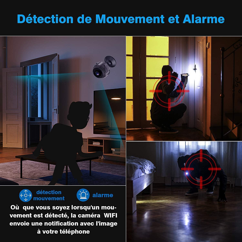 Micro Cam/éra Surveillance sans Fil 1080P Full HD Vision Nocturne Smartphone Bebe IP Cameras Cach/ée sur Batteries D/étection de Mouvement Spy Cam pour Int/érieure//Ext/érieure Mini Camera Espion WiFi