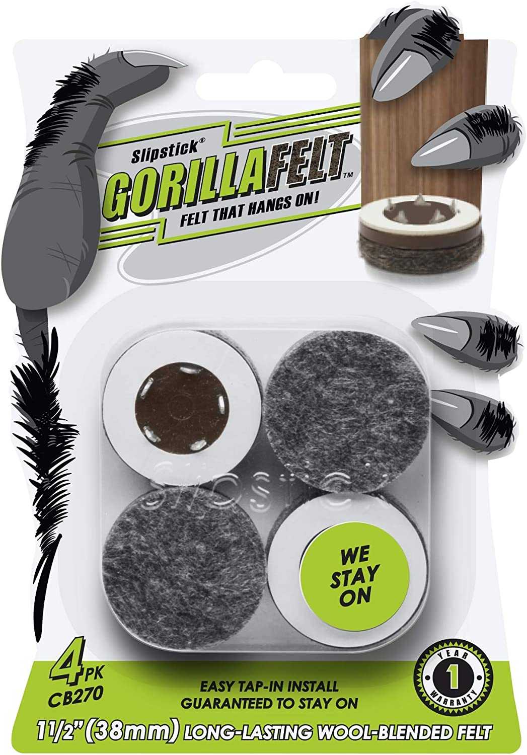 GorillaFelt CB270 Furniture Feet Floor Protectors/Felt Glides (Set of 4) Tap On Felt Furniture Pads Guaranteed to Stay On, 1-1/2 Inch Round Sliders