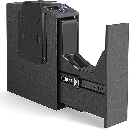 LANGGER V Biometric Slider Handgun Gun Safe for Nightstand, Desk, Bed Side, Truck - Auto Sliding Door Fingerprint Hand Gun Safe for Pistol -with Fingerprint, PIN Code, Key Access