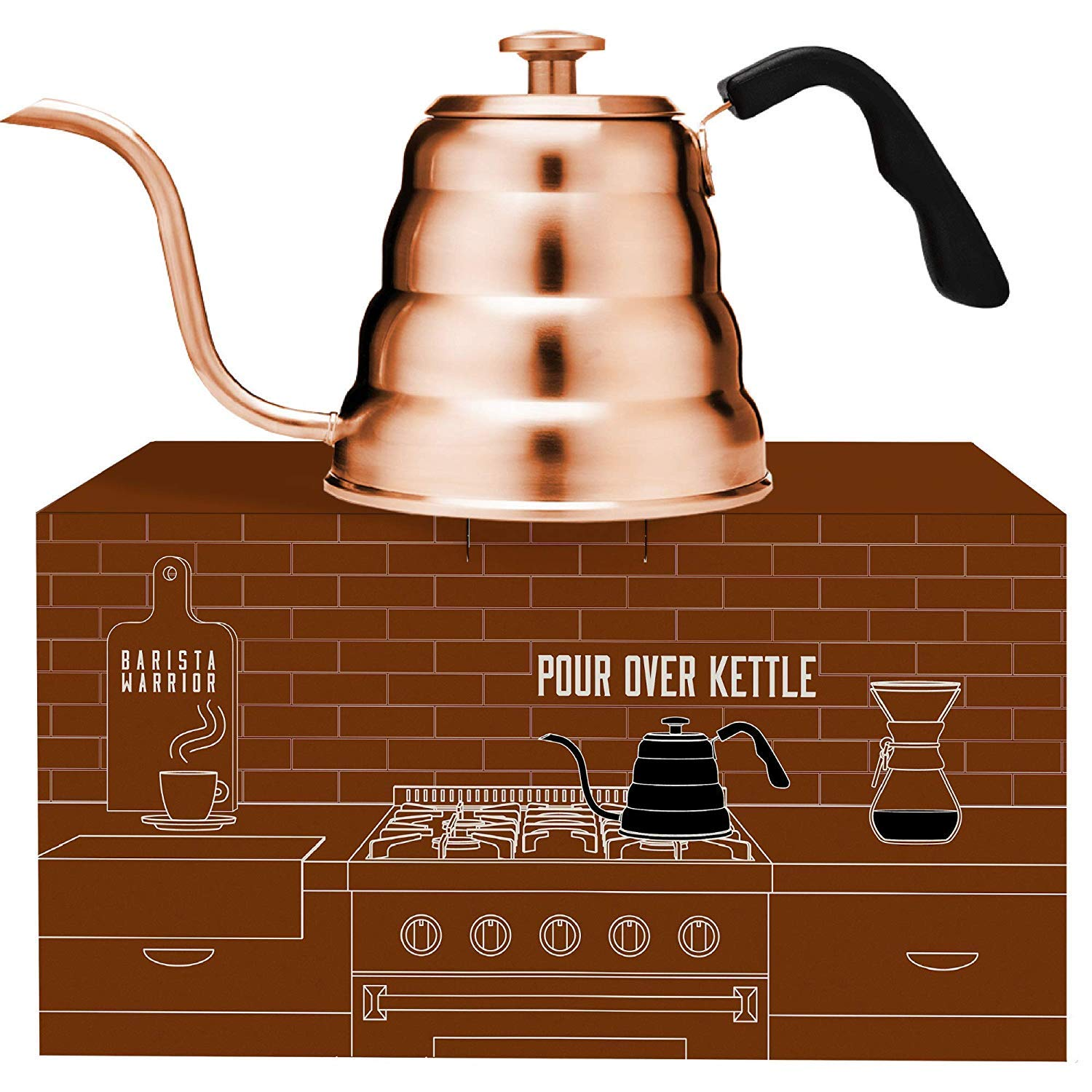 Copper Kettle with Thermometer for Exact Temperature - Copper Coated Gooseneck Pour Over Kettle for Coffee and Tea (1.2 Liter | 40 fl oz) (Copper Coated Stainless Steel) by Barista Warrior