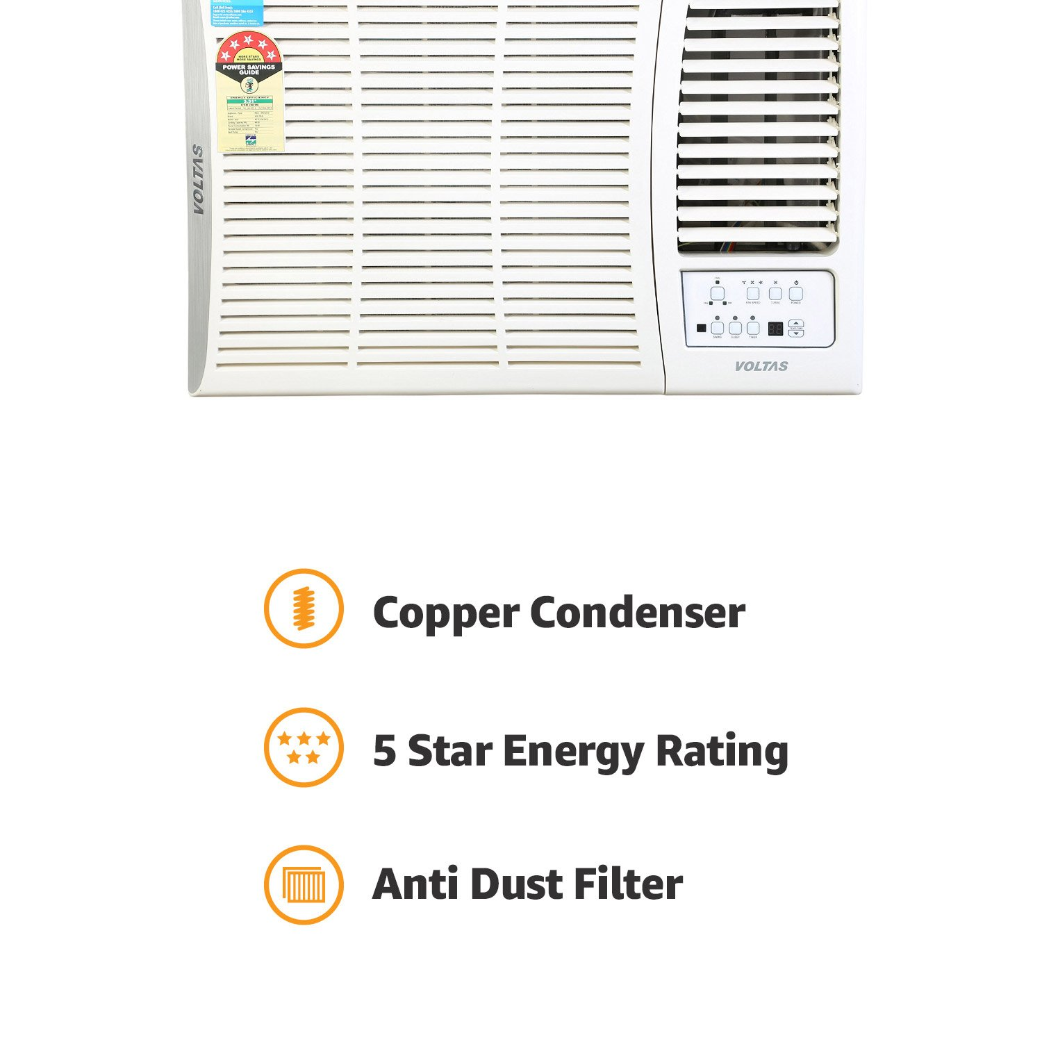 Voltas 15 Ton 5 Star Window Ac Copper185 Dza White Cooper Wiring Diagram Wall Pack Home Kitchen