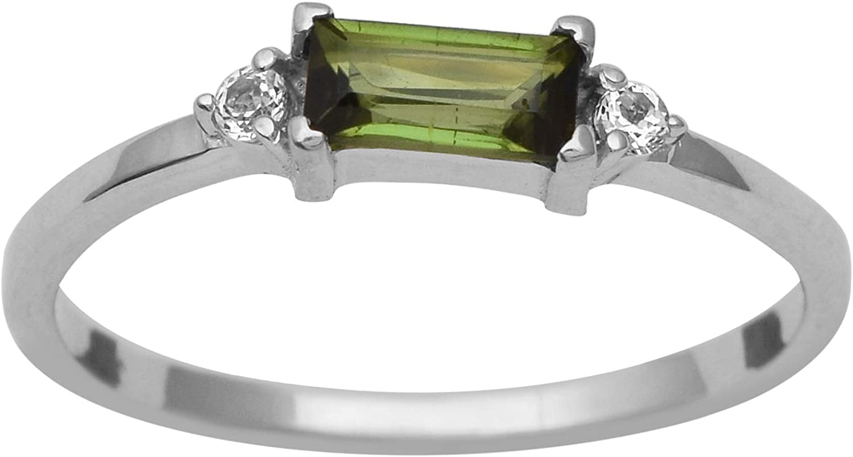 Shine Jewel Este Anillo está Hecho a Mano en Plata de Ley 925 Natural. La turmalina Verde Central es de 0,40 Quilates.