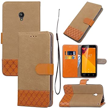 GHC Cases & Covers, para Vodafone Smart Turbo 7 Vfd500 Estuche de cuero con puntadas