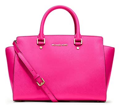 f0546cf8f51c Amazon.com: NWT Michael Kors Selma Handbag Large Leather Satchel Neon Pink:  Shoes
