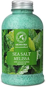 Sea Salt Melissa with Natural Melissa Essential Oil 18oz - Melissa Bath Salts - Best for Good Sleep - Stress Relief - Beauty - Relaxing - Bathing - Body Care