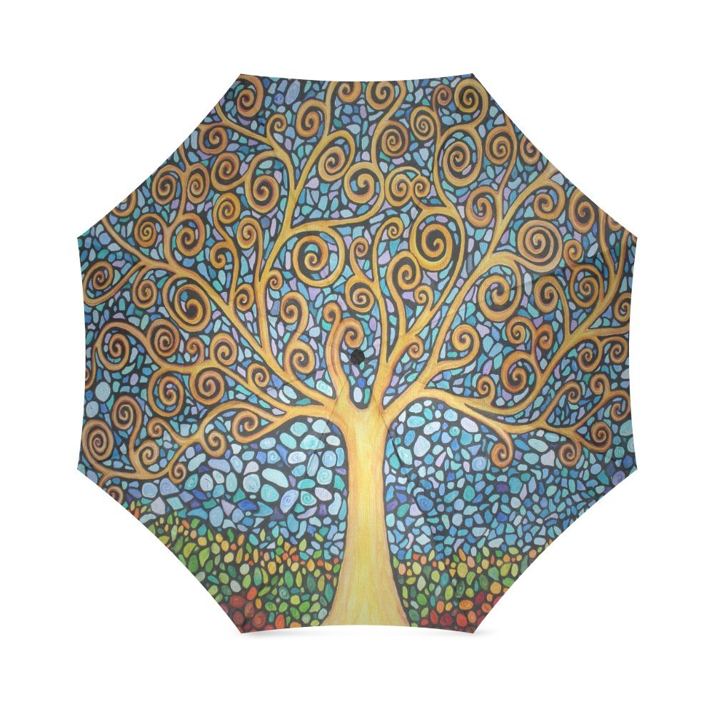 Low Cost Birthday Gifts Stylish Art Tree Of Life Folding Windproof Outdoor Travel Umbrella