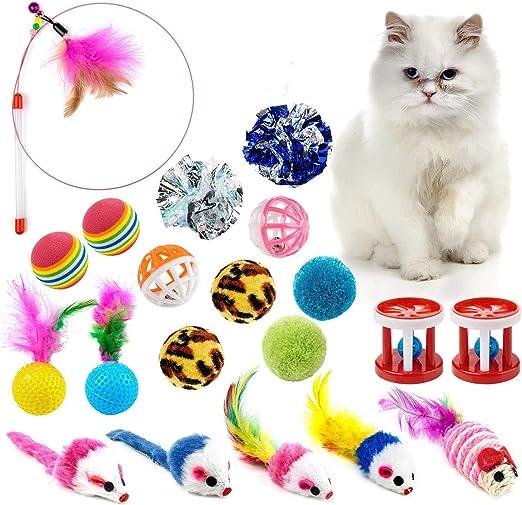 WolinTek 20 Piezas Juguetes para Gatos, Juguete Interactivo con Plumas para Gatos, Ratóns y Bolas Varias con Campanas y Plumas para Gatos: Amazon.es: Productos para mascotas