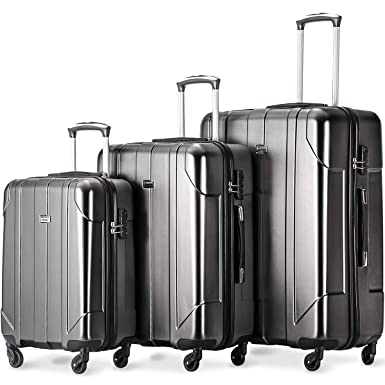 Merax Luggage 3 Piece Set P.E.T Luggage Spinner Suitcase Lightweight 20 24 28inch