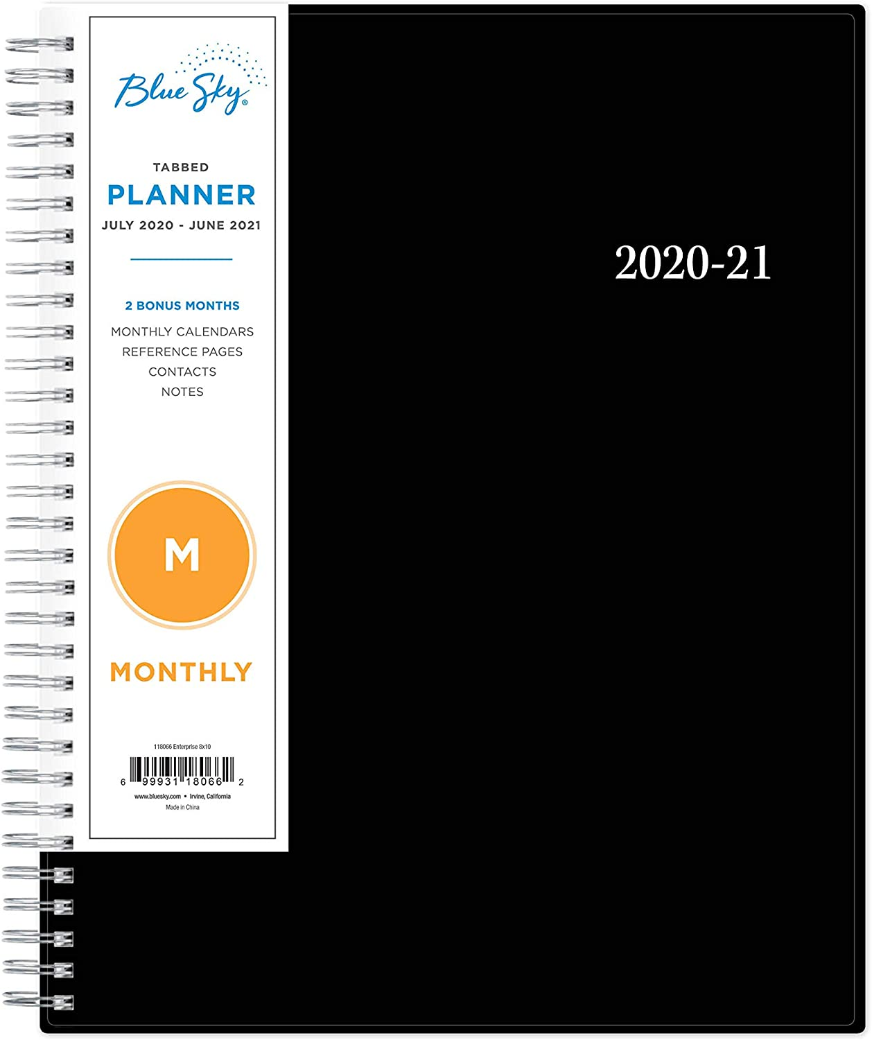 "Blue Sky 2020-2021 Academic Year Monthly Planner, Flexible Cover, Twin-Wire Binding, 8"" x 10"", Enterprise"