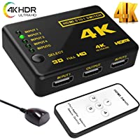HDMI Switch 4k, Vsita Intelligent 5-Port HDMI Switch Splitter switcher Supports 4K, Full HD1080p, 3D with IR Remote