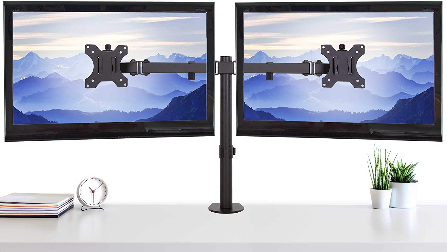 Stand Steady 2 Monitor Mount Desk Stand | Height Adjustable Double Monitor Stand with Desk Clamp| Full Articulation VESA Mount Fits Most LCD/LED Monitors 13-32 Inches (2 Arm Clamp)