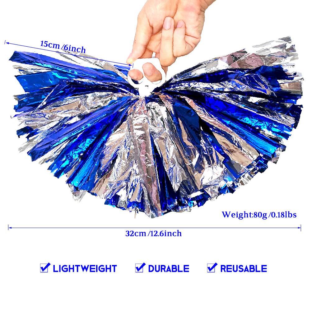 AUHOTA 4 St/ück Metallfolie Cheerleading Pom Poms Cheerleader Pompons Handblumen zum Sport Cheers Ball Dance Kost/üm Nacht Party Team Spirit 6 Zoll