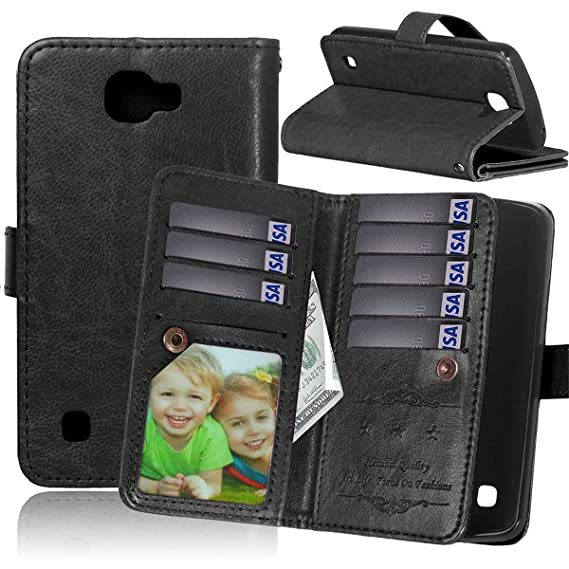 separation shoes 7d5e8 112bd LG Ultimate 2 Case LG L41C Ultimate 2 Wallet Case,Bat King [Multi Card  Wallet] Premium Magnetic PU Leather Wallet with Built-in 9 Card Slots Folio  ...