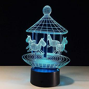 Carrusel 3D Lámpara Led Dormitorio Luz de la noche con 7 colores ...