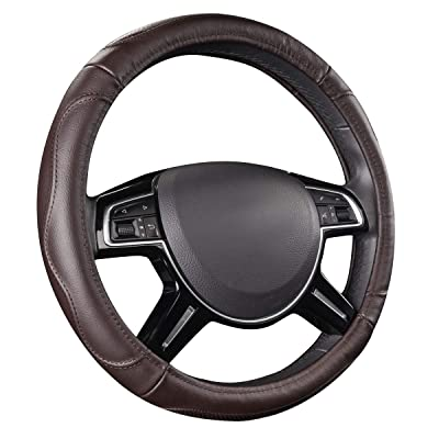CAR PASS Universal Luxurious Genuine Leather Steering Wheel Cover, Fit for Suvs,Trucks,sedans,Vans(Chocolate): Automotive