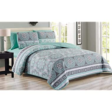 6 Piece Medallion Floral Patchwork Reversible Bedspread/Quilt with Sheet Set King