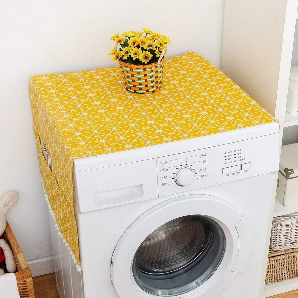 Cubierta de Lavadora de Lino Antiarrugas de Estilo Fresco Multiusos con diseño Elegante, Cubierta Amarilla de Lavadora y Secadora, para Armario de(55 * 130cm 51x21inch)