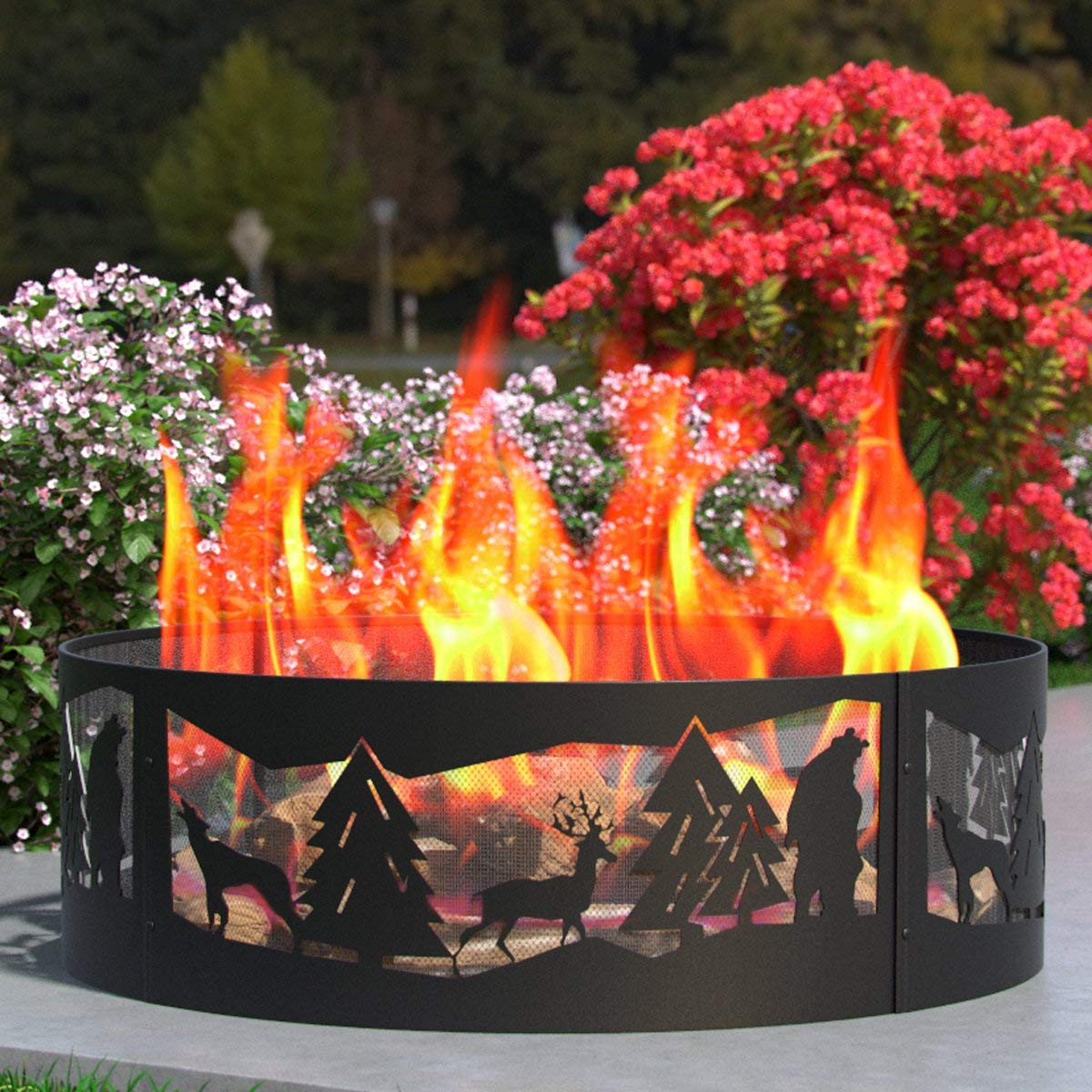 Regal Flame Heavy Duty 38 Inch Backyard Garden Light Wood Fire Pit Fire Ring. for RV, Camping, and Outdoor Fireplace. Similar Firewood Patio Heater, Stove or Firebowl Without Propane (Wilderness)