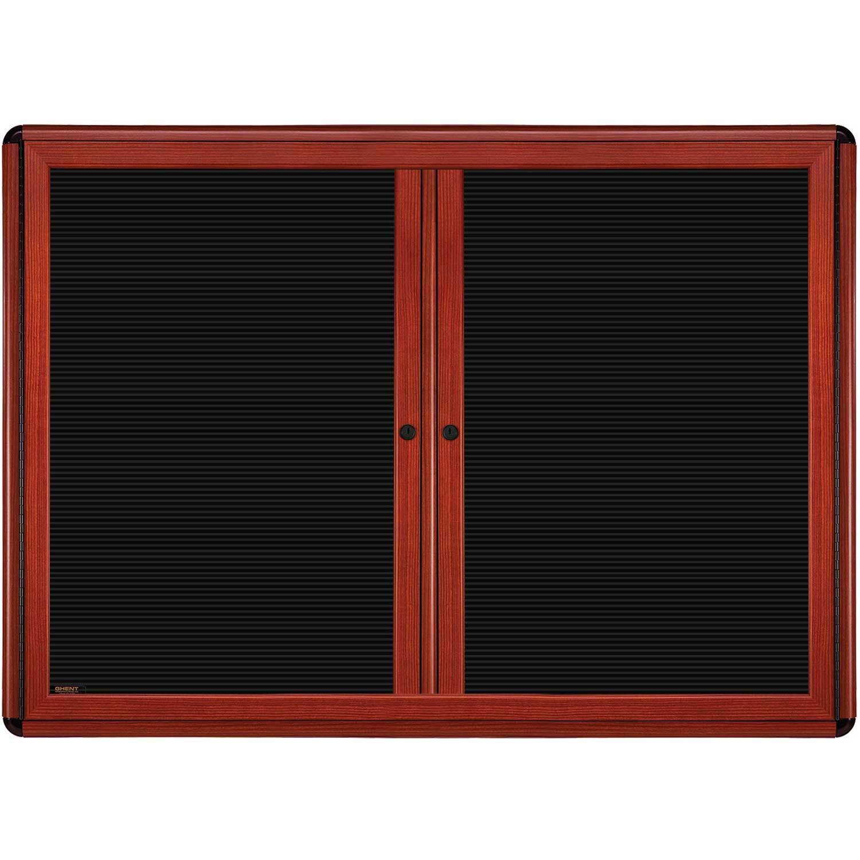 Ghent 36'' x 60'' 2-Door Ovation Letter Board Black, Cherry Wood Look Finish/Black Corners (OVMCB4-BBK)