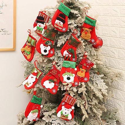 Gudotra 12pcs Medias Calcetines de Navidad Bolsas De Mesa Decoraciones para Arbol de Navidad Dulces Santa