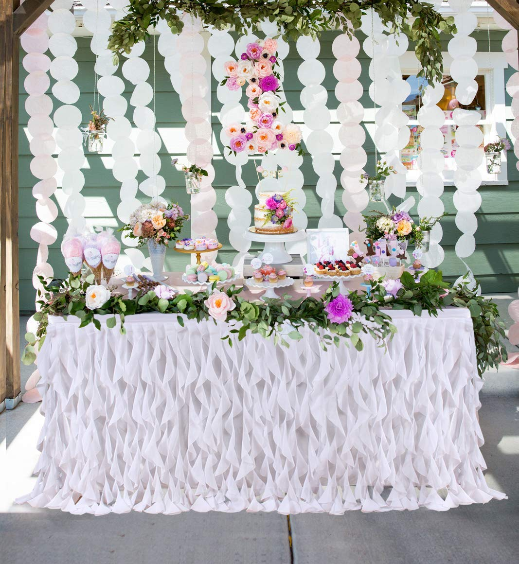 9ft Curly Willow Ruffle Table Skirt for Rectangle Round Table Wedding Baby Shower Birthday Party Decorations by HoneyDec