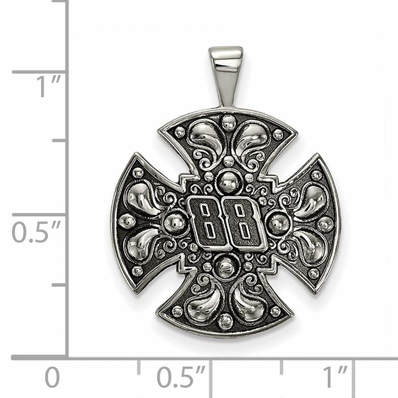 Stainless Steel Antiqued LogoArt NASCAR # 88 Bali Type Maltese Cross Pendant Necklace 18