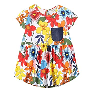 3c134b3f09e Girl Casual Floral Printed Dress Cute Cotton Print Dresses - Kids Short  Sleeves with Chest Pocket