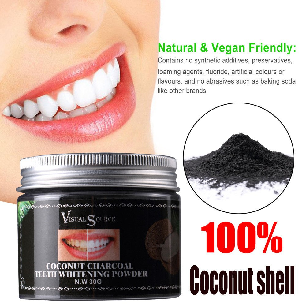 Teeth Whitening Powder Hosamtel Natural Herb Coconut Toothpaste Remove Halitosis Plaque Dentifrice,Safe Higher Efficiency Teeth Whitener (30G)