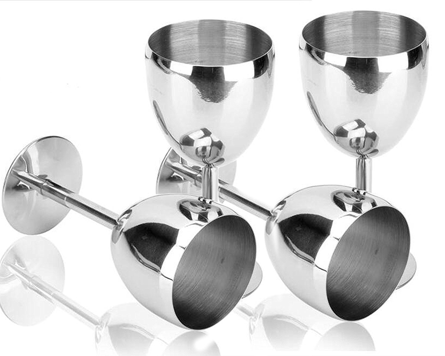 King International Stainless Steel Wine Glass Champagne Goblet Cup Drinking Mug SET OF 6 PIECES Elegant Wine Glasses Made of Dishwasher Safe Unbreakable BPA Free Shatterproof SS Great for Daily by King International (Image #7)