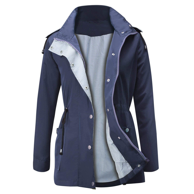JASAMBAC Rain Jacket Women Waterproof Hooded Raincoat Lightweight Trench Coats Active Outdoor Windbreaker Navy XL by JASAMBAC
