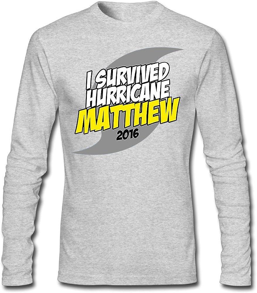 YOcioGo Men's I Survived Hurricane Matthew 2016 Long Sleeve T Shirts