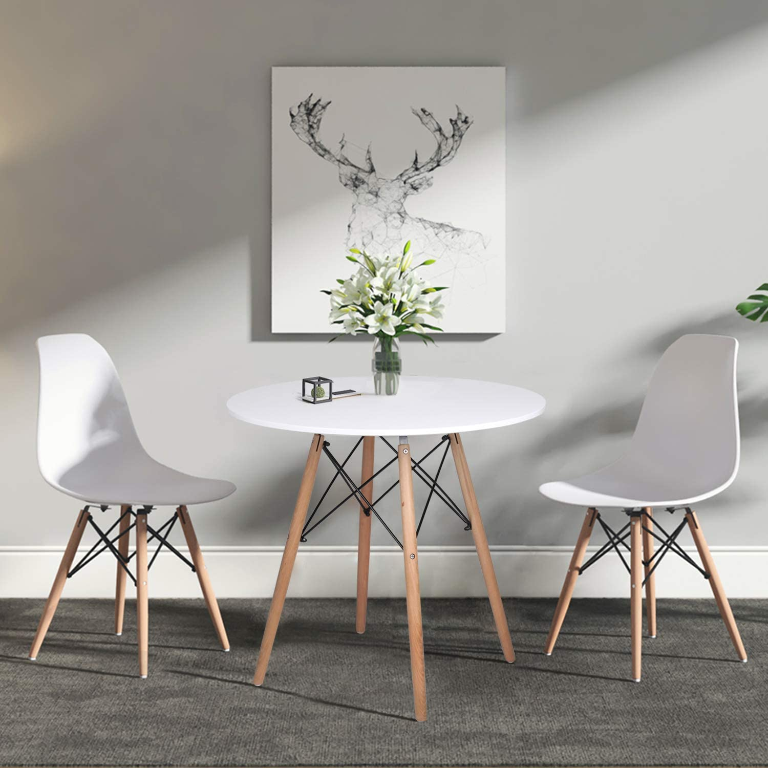 Dining Table and Chairs Set of 4,Glass Grey Kitchen Table and 4 Faux Leather Padded Chairs Kitchen Dining Table Set Round Table 80cm+2 Chairs