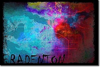 Map Of Bradenton Florida.Amazon Com Bradenton Florida Usa Original Map Design Colourboo