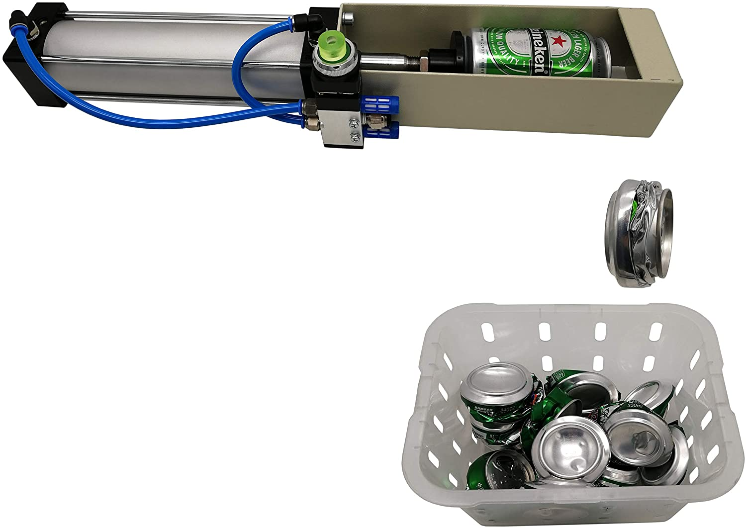 Air Cylinder Can Crusher Heavy Duty Efficient Soda Beer Smasher, Eco-Friendly Recycling Tool for Aluminum Cans
