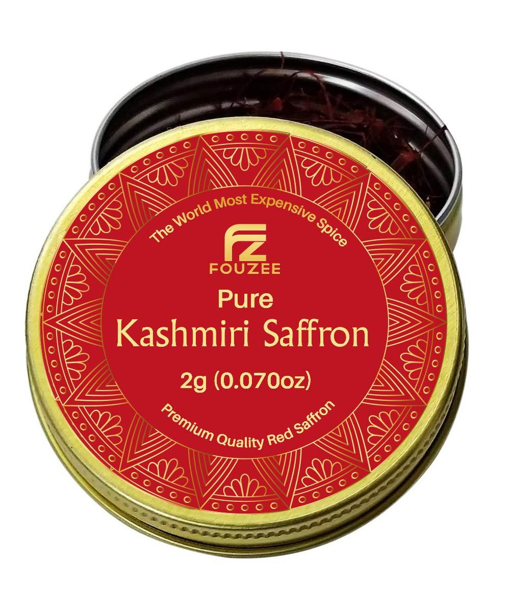 Fouzee Pure Kashmiri Saffron Threads, Finest 100% All-Red Saffron Spice For Cooking, Paella Rice, Golden Milk, Persian Rice, Tea (2 grams)