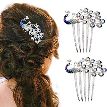 de37242b9e588 Amazon.com  2 Pcs Rhinestone Peacock Hair Clip
