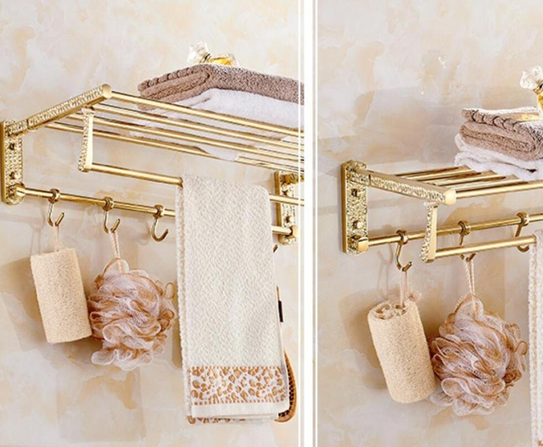 GL&G European Luxury Gold Copper Bathroom Bath Towel Rack Double Towel Bar Bathroom Storage & Organization Holder Towel Bars Wall Mount Bathroom Accessories Bath Wall Shelf Rack,6023.513.5cm by GAOLIGUO (Image #2)