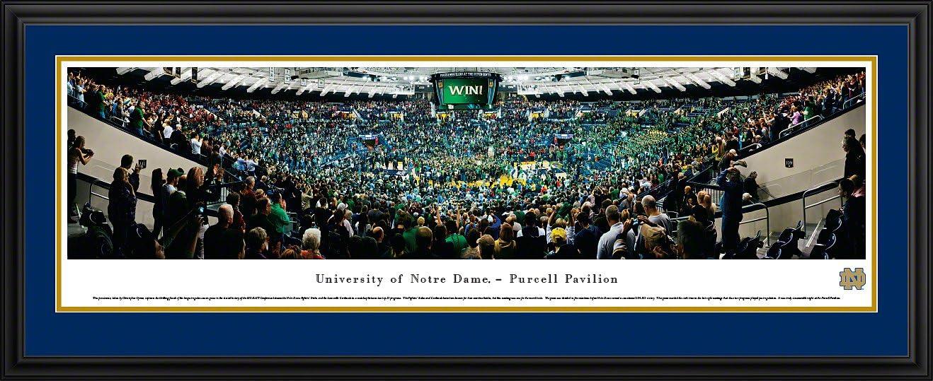 Notre Dame Fightin 'アイルランドにバスケットボールPurcell pavilion- Blakewayパノラマ印刷 チームカラーのダブルマット付きデラックスフレーム